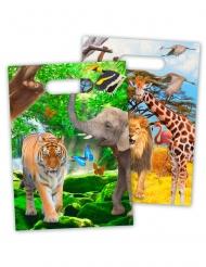 8 Sacs de fête en plastique Safari 18 x 30 cm