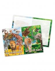 8 Cartons d'invitation en carton Safari 12 x 20 cm