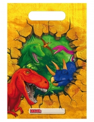 6 Sacs de fête en plastique Dinosaures 18 x 30 cm