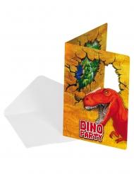 6 Cartons d'invitation en carton Dinosaures avec enveloppes 15 cm