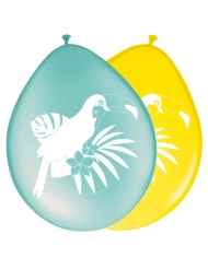 8 Ballons en latex Toucan jaune et bleu 30 cm