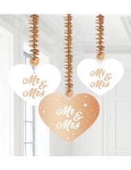 3 Suspensions en carton Mr & Mrs rose gold 22 cm