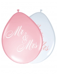 8 Ballons en latex Mr & Mrs roses et blancs 30 cm