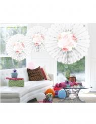 3 Eventails en papier Mr & Mrs blanc floral 25 x 19 cm