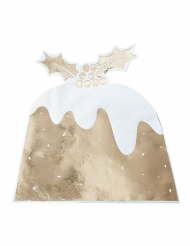 12 Serviettes en papier Pudding doré métallisé 16 cm