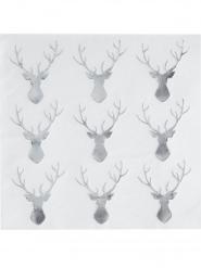 16 Petites serviettes en papier Tête de cerf blanc et argenté 33 x 33 cm