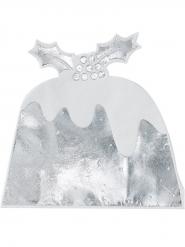12 Serviettes en papier Pudding argenté métallisé 16 cm