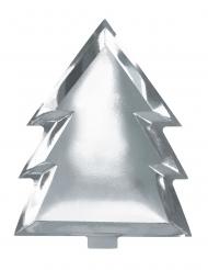 6 Assiettes en carton en forme de Sapin argenté métallique 23 cm
