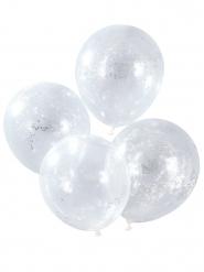 5 Ballons confettis étoiles argentées 30 cm
