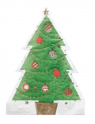 12 Petites serviettes en papier en forme de Sapin vert 16 cm