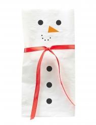 12 Petites serviettes en papier Bonhomme de neige 16 cm