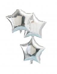 3 Ballons en aluminium Etoile holographique 45 cm