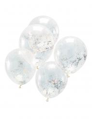 5 Ballons transparents avec confettis iridescents 30 cm
