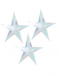 3 Suspensions étoile holographiques 38 cm