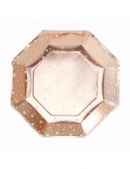 8 Assiettes en carton étoilées rose gold 25 cm