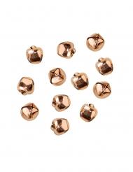 50 Mini clochettes en métal rose gold 1 cm