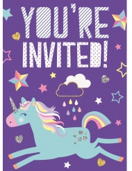 8 Cartons d'invitation Licorne violette