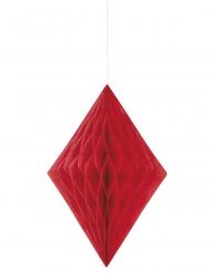 Losange en papier alvéolé rouge 35 cm