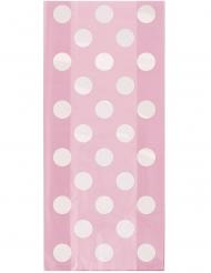 20 Pochettes cadeaux rose poudré à pois blanc 28 x 13 cm