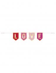 Bannière en carton Love rose et dorée 91 cm