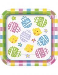 8 Petites assiettes carrées en carton Oeuf de Pâques 18 cm