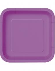 14 Assiettes carrées en carton violettes 23 cm