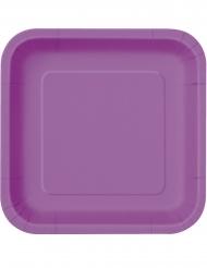 16 Petites assiettes carrées violettes en carton 18 cm