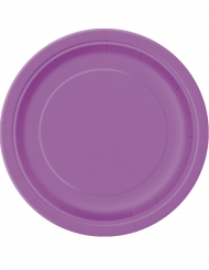 20 Petites assiettes en carton violettes 18 cm