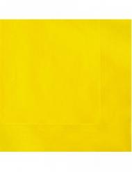 50 Serviettes en papier jaunes 33 x 33 cm