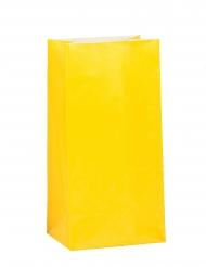 12 Sacs à cadeaux en papier jaune 25 x 9 cm