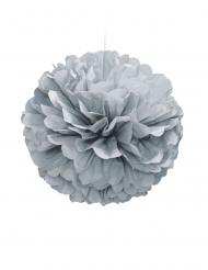 Pompon à suspendre en papier argenté 40 cm