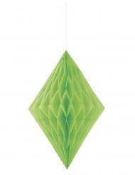 Losange en papier alvéolé vert citron 35 cm