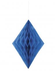 Losange en papier alvéolé bleu foncé 35 cm