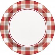 8 Petites assiettes en carton vichy rouge 18 cm