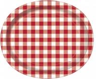 8 Assiettes creuses en carton vichy rouge 31 x 25 cm