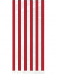 20 Sacs à cadeaux en plastique blanc à rayures rouges 28 x 13 cm