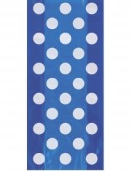 20 Sacs à cadeaux en plastique bleu à pois blanc 28 x 13 cm
