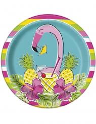 8 Assiettes en carton Summer Ananas & Flamant 23 cm