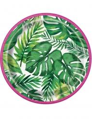 8 Petites assiettes en carton Palm Tropical Luau 18 cm