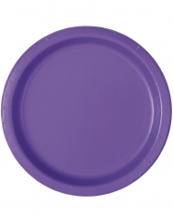 16 Assiettes en carton violet foncé 23 cm