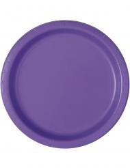 20 Petites assiettes en carton violet foncé 18 cm
