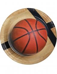 8 Assiettes en carton Ballon de basket 23 cm