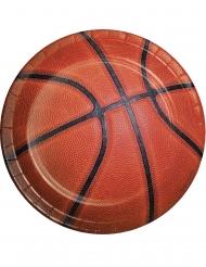 8 Petites assiettes en carton Ballon de basket 18 cm