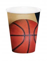 8 Gobelets en carton Ballon de basket 266 ml