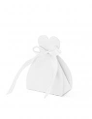 10 Contenants à dragées en carton blanc 6,5 x 3 x 9 cm