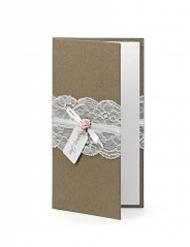 Porte billet en kraft et dentelle 10,5 x 19,5 cm