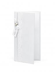 Porte billet blanc et dentelle 10,5 x 19,5 cm