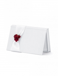 Porte billet avec ruban blanc et bouquet rouge 15,5 x 9,5 x 1,5 cm