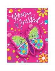 8 Cartons d'invitations Papillon 10 x 12 cm
