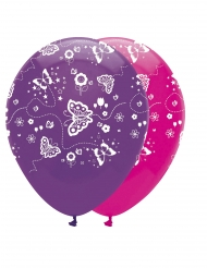 6 Ballons en latex Papillon rose et violet 30 cm
